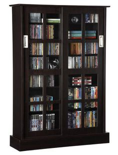 DVD in glass cabinet
