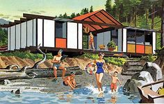 illustration of a mid-century modern vacation home.   i want to go to this PLACE!