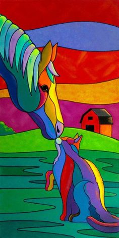 'Kindred Spirits' Art Print - Reproduction of the Original Painting. Art Pop, Art Africain, Kindred Spirits, Horse Art, Animal Paintings, Cat Art, Art Lessons, Folk Art, Modern Art