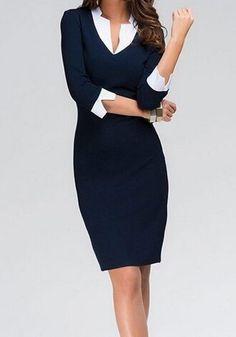 V-Neck 3/4 Sleeves Color Splicing Elegant Bodycon Dress | www.sammydress.com