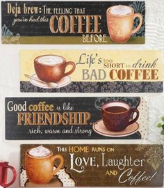 Kitchen Coffee Wall Art Plaques Vintage Caffeine Theme Wall Signs Decor 4-PCS in Home & Garden | eBay