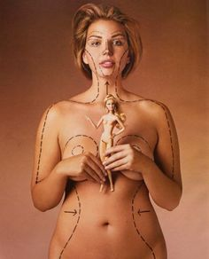 This model would have to change her body to the outlined proportions to be a life-size Barbie.  Must teach ourselves and daughters that women can be soft with curvers and still be healthy and strong.