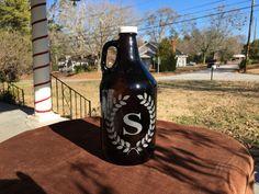 Engraved beer growler laurel wreath growler by 800ChestnutStreet