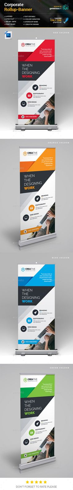 Rollup Banner by generousart File Information: Easy Customizable and EditableSize in with bleedCMYK ColorDesign in 300 DPI ResolutionPrint Ready Format Signage Design, Brochure Design, Brochure Template, Flyer Design, Layout Design, Web Design, Banner Design Inspiration, Packaging Design Inspiration, Banner Template