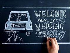 黒板を使ったウェルカムボード、チョークアートで結婚式のアイテム作り(DIY:wedding) - YouTube