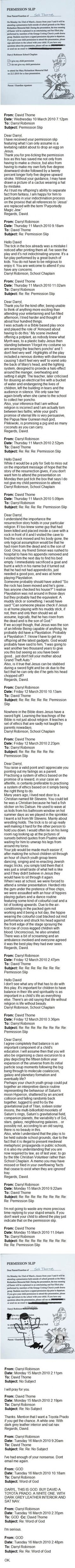 The Best Email Exchange Ever. This Man Is Hilarious. (Permission slip to attend religious play)