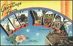 Vintage Greetings from New York postcard.