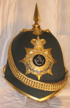 Ox & Bucks Light Infantry home service helmet.  In the Victorian era, the Oxfordshire (later Oxfordshire and Buckinghamshire) light infantry served in the Nile Expedition, the Tirah campaign, and in the second Boer war at the relief of Kimberly and the battle of Paardeberg.