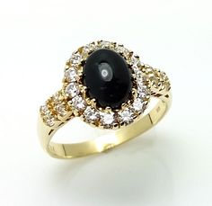 14K Solid Yellow Gold Cabochon Black Onyx Ring Size 6 #OnyxRing #Cocktail
