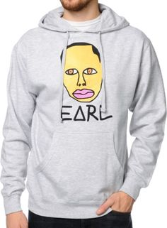 Finally Earl Sweatshirt is free and you can take your OFWGKTA swag to the next level with the classic Earl sweatshirt from the Official Odd Future clothing line. Featuring the Free Earl face graphic on the front chest, this heather grey pullover sweatshi Earl Sweatshirt, Graphic Sweatshirt, T Shirt, Odd Future, Hoodies, Sweatshirts, Heather Grey, My Style, Honey Cocaine