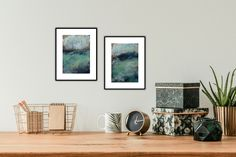 Set of Two Dramatic Riverscape Paintings — 5 x 7 Landscape Paintings in Blue and Green #originalpaintings #homedecor #riverscapes #etsygifts Original Art, Original Paintings, Landscape Paintings, Gallery Wall, Abstract, Green, Blue, Etsy, Home Decor