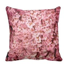 Japanese Cherry Flower Throw Pillow  Cherry blossom décor is a great way to life, beauty and peace to your home.  You can find all kinds of cherry blossom decorating ideas by looking at cherry blossom wall art, cherry blossom accent pillows and other cherry blossom decorative accents.  Effortlessly use this type of décor in your bedroom, living room and bathroom and perhaps gain some inspiration from it to spruce up areas of your home.