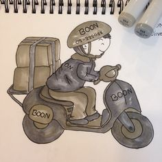 Boon delivery the first drawing by copic 2 colors.
