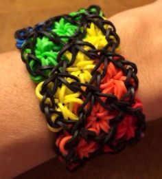 Handmade w/ Rainbow Loom Bands - Rainbow & Black Triple Star Cuff Bracelet!