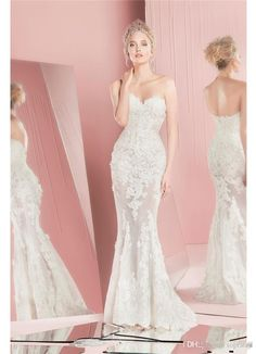 85d237a8f04 2016 Zuhair Murad Mermaid Lace Wedding Dresses Long Sleeves Detachable  Train Sweetheart Neckline Applique Bridal Gowns 2015 Custom Made Brides  Wedding Dress ...