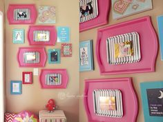 Great idea from Laura Winslow. She found trays, painted them, layered with another tray, and then affixed a 4x6 in the middle. So cute!