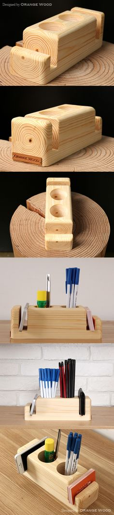 Phone and pencil holder Wood Crafts, Diy And Crafts, Desk Tidy, Small Wood Projects, Wooden Coasters, Animal Projects, Wood Creations, Pencil Holder, Wood Toys