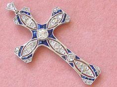 Art deco style platinum diamond and sapphire cross pendant jewelry antique art deco diamond sapphire platinum 18k cross pendant 1930 melsantiquejewelry aloadofball Image collections