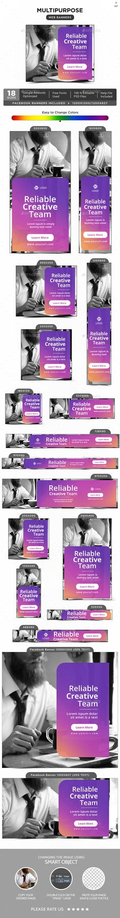 Multipurpose Banners Template PSD #design #web #ad
