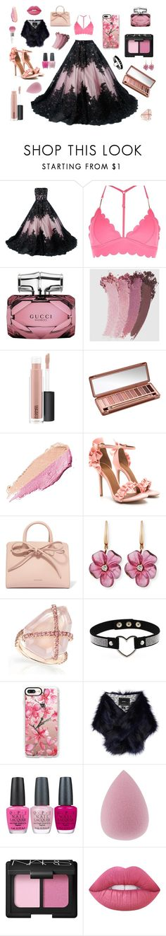 """""""Love Shock"""" by the-pink-poppy ❤ liked on Polyvore featuring River Island, Gucci, MAC Cosmetics, Urban Decay, By Terry, Mansur Gavriel, Rina Limor, Casetify, Unreal Fur and OPI"""