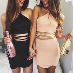 Black and pink cutout dresses