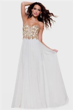 17ceef7e0bf New Sexy Sweetheart White and Gold Long Prom Dresses 2015 With Crystal  Floor Length Evening Gowns