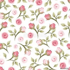 """Download the royalty-free vector """"Seamless pattern with roses. Vector illustration."""" designed by naddya at the lowest price on http://Fotolia.com. Browse our cheap image bank online to find the perfect stock vector for your marketing projects!"""