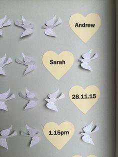 "Image of Doves - Medium (9"" sq.) - White Glitter, Cream and Grey"