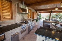 Basic Kitchen Area Concepts For Inside or Outside Kitchen areas – Outdoor Kitchen Designs Outdoor Kitchen Bars, Outdoor Kitchen Design, Outdoor Kitchens, Outdoor Spaces, Cabana, Outdoor Gas Fireplace, Patio Store, Outside Room, Basic Kitchen