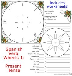 Six wheels Six matching worksheets Six answer keys -- FREE set! Spanish Grammar, Spanish Teacher, Spanish Classroom, Teaching Spanish, Verb Conjugation, Matching Worksheets, Spanish Eyes, Spanish 1, High School Spanish
