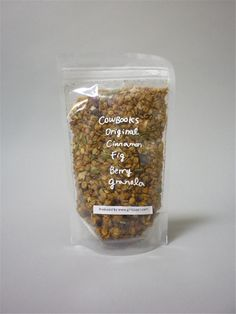 cowbooks fruit granola - clear/transparent, stand up Doy bag pouches with Zip Lock and Easy Open Cuts & Euro Slots.