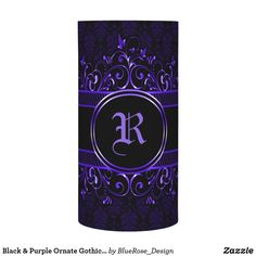 Black & Purple Ornate Gothic Monogrammed Flameless Candle Flameless Candles, Led Candles, Holiday Cards, Christmas Cards, Christmas Card Holders, Decorating Your Home, Keep It Cleaner, I Shop, Gothic
