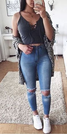 summer outfits Grey Cardigan + Destroyed Skinny Jeans