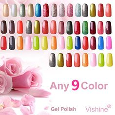 Vishine Pick Any 9 Color Soak-off UV LED Gel Nail Polish Varnish Base Top Coat 15ml -- Find out more about the great product at the image link.