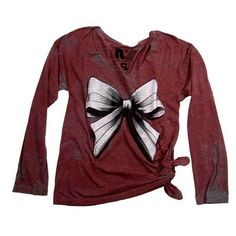 Rebel Yell Bow Long Sleeve Boyfriend Tee in Red ($79) ❤ liked on Polyvore