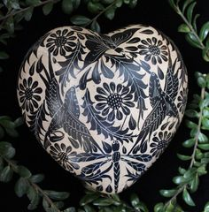 Lovely Puffy Black & Beige Heart Hummingbird Tonala Mexican Folk Art Pottery #HandMade