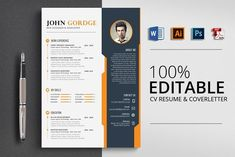 Creative CV Resume Template Word by Psd Templates on Graphics Author ---CLICK IMAGE FOR MORE--- resume how to write a resume resume tips resume examples for student Resume Design Template, Creative Resume Templates, Cv Template, Psd Templates, Design Templates, Resume Cv, Resume Writing, Resume Format, Resume Tips