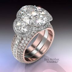 trio oval ring with Blaze and dual bookend bands