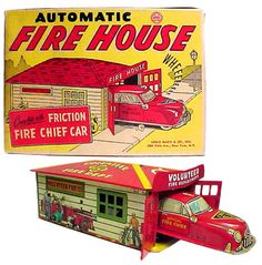 1952 Marx, Automatic Fire House w/Friction Fire Chief Car (Factory Sample)