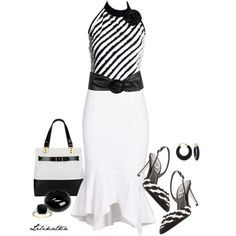 Black white Zebra tip and white skirt with pumps and purse... beautiful set
