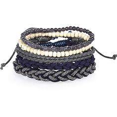 Perlenarmbänder in Marineblau im Set - Armbänder - Schmuck - Herren