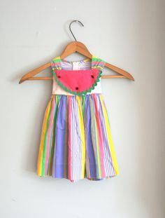 Vintage STRIPED WATERMELON Colorful Girls Dress....size 2 size 2T....girls. kids. children. summer dress. stripes. bubble gum pink. $14.00, via Etsy.
