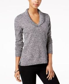 Charter Club Petite Marled Shawl-Collar Sweater, Created for Macy's - Black P/XS