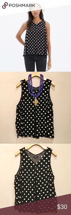 Madewell Black & White Polka Dot Tank Super cute flowy top by madewell. Has pleats on front and back with varied polka dot pattern. In perfect condition. Madewell Tops