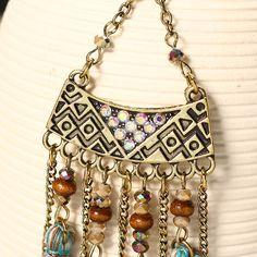 Women's Bohemian Earrings Retro Wood Bead Crystal Tassel Earrings  women fashion jewelry