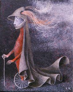 1959 'Caballero en Monociclo', Remedios Varo Uranga (1908~1963, Spanish-Catalan born Mexican para-surrealist painter and anarchist)