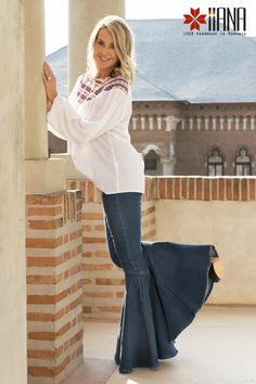 nadia comaneci iiana design premiumbrand fromromaniawithlove madeinromania perfect10 Nadia Comaneci, Wide Leg Jeans, Jean Outfits, Flare Jeans, Bell Bottoms, Bell Sleeve Top, Women Wear, How To Wear, Pants