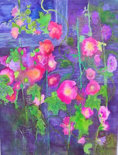 Hollyhocks by caitlinsgarden ... gorgeous painting ...
