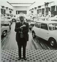 The Mini, produced by the British Motor Corporation (1959): The innovative transverse-engine design by Sir Alec Issigonis (1906-1988) made it an icon. Whilst famous for his creation of the Mini [launched in 1959], Sir Alec (shown here) was most proud of his design of the Morris Minor, which debuted at Earls Court in 1948. He envisioned a 'car for the people'.