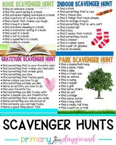 Scavenger Hunts - Primary Playground games for toddlers Book Scavenger Hunt, Backyard Scavenger Hunts, Summer Scavenger Hunts, Classroom Scavenger Hunt, School Scavenger Hunt, Classroom Ideas, Nature Scavenger Hunts, Classroom Supplies, Summer Activities